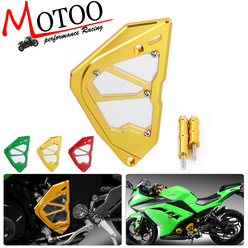 Motoo- CNC Motorcycle Accessories Left Engine Front Sprocket Chain Guard Protection Cover For Kawasaki Ninja300 starpad for kawasaki motorcycle accessories when the engine zzr400 small chain timing chain gauge chain free shipping