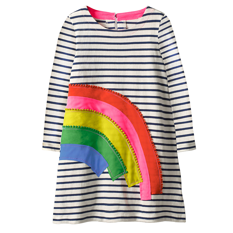 Jumping Meters Baby Girls Long Sleeve Dress Children Clothing 2018 Autumn Striped Cotton Kids Princess Dresses for Girls Clothes