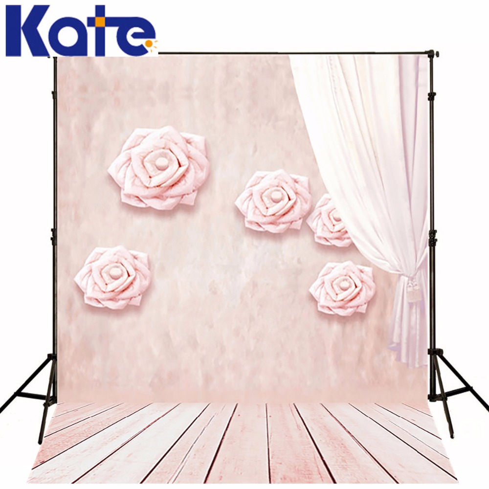 KATE Valentine'S Day  Backdrop Wood Floor Background  Pink Wall Flowers Photography Backdrops Romantic Wedding Photo for Studio
