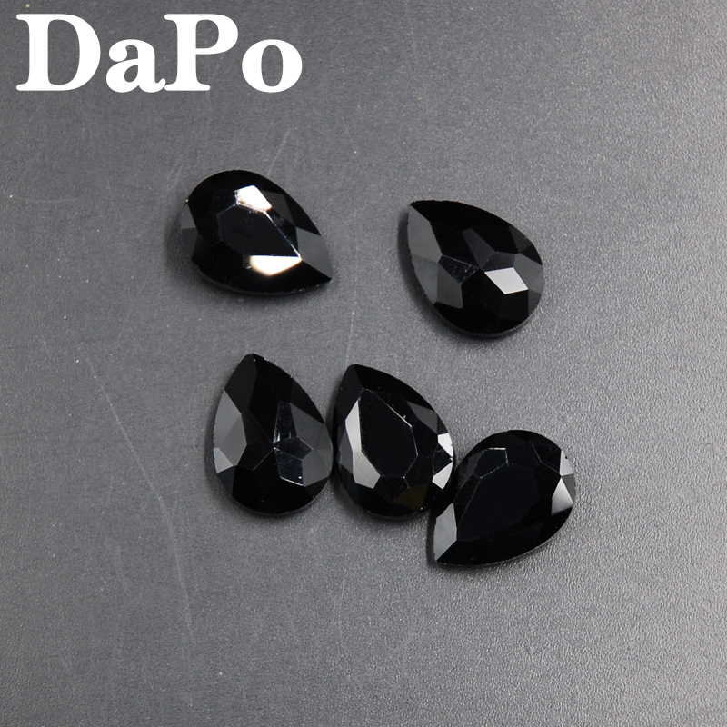 Jet Black Color Droplet Shape Teardrop Point Back Rhinestones Glass Crystal  For Dress Decoration 4x6mm~20x30mm-in Rhinestones from Home   Garden on ... fc919698f75c
