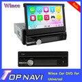 2014 Top Professional Wince Telescópica 7 Polegada 1 Din Universal Car DVD Player Com GPS Rádio Wi-fi 3G Bluetooth
