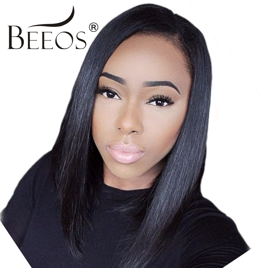 BEEOS 150% Short Pre Plucked Lace Front Human Hair Wigs For Women Peruvian Remy Bob Wigs With Baby Hair Bleached Knots