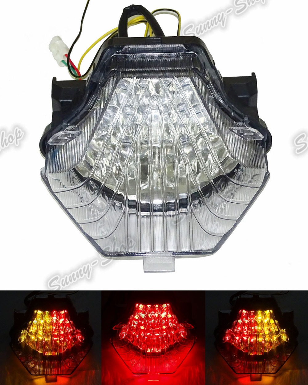 Motorcycle Parts E-Mark Rear Tail Light Brake Turn Signals Integrated Led Light Clear For 2013 2014 2015 2016 Yamaha YZF R3 R25 aftermarket free shipping motorcycle parts led tail brake light turn signals for yamaha 2004 2009 fz6 fazer 600 clear