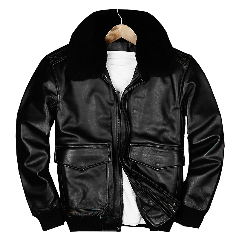 2018 Black Men USAF Pilot Leather Jacket Wool Collar Plus Size 3XL Genuine Cowhide Winter Russian A2 Leather Coat FREE SHIPPING