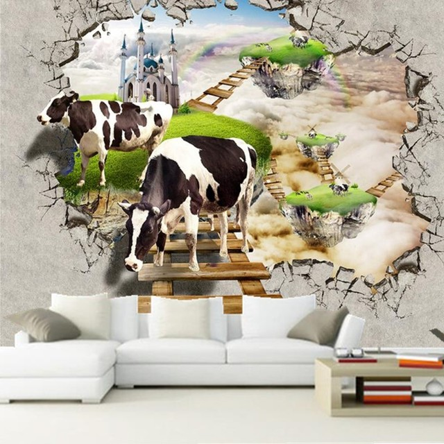 Custom 3D Three Dimensional Dream World Two Cows Papel De Parede For The Living