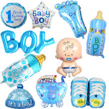 1pc Baby Boy Girl First Birthday Foil Balloons Baby Shower Party Decor Letter Number Stroller Milk Bottle Star Heart Balloon(China)