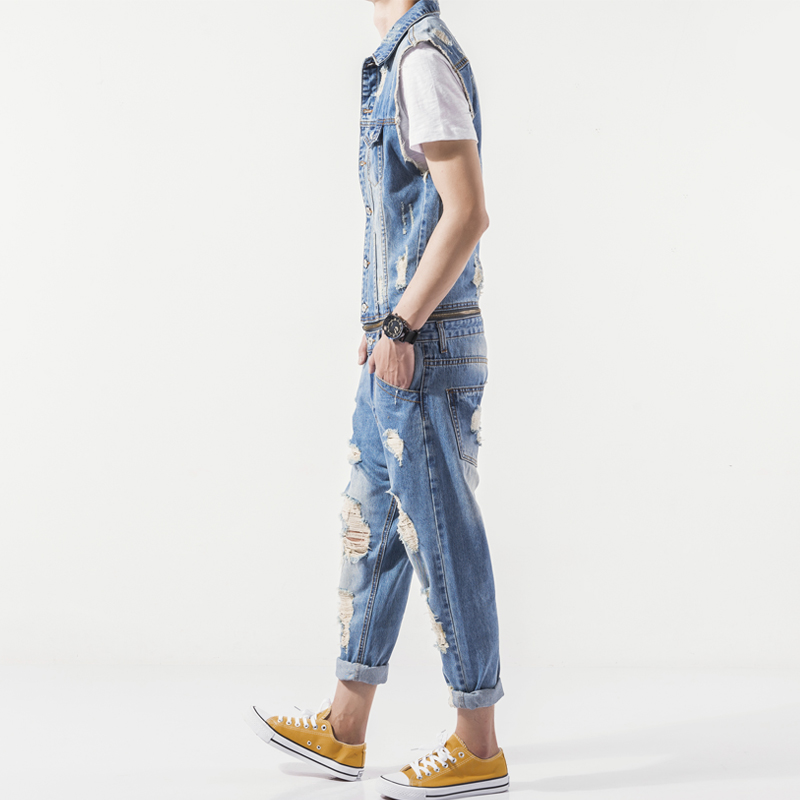 8a2dbebfce94 Helisopus Street Hiphop Ripped Cowboy Jumpsuits Men s Denim Overalls Casual  sleeveless Jeans Hiphop Workwear Suit-in Overalls from Men s Clothing on ...