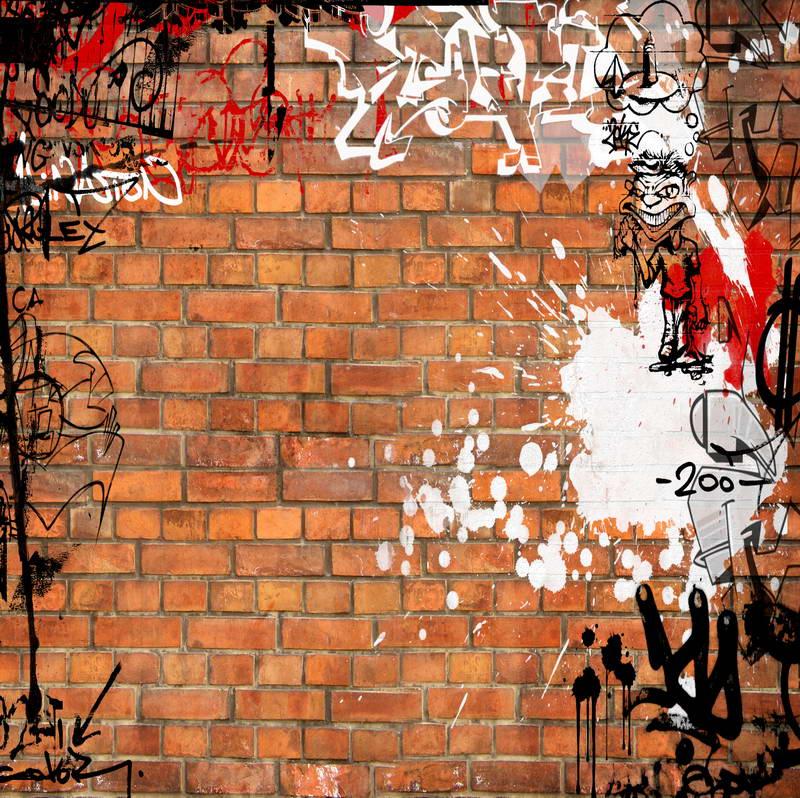 8x8FT Indoor Sandy Brown Bricks Wall Graffiti Doodles