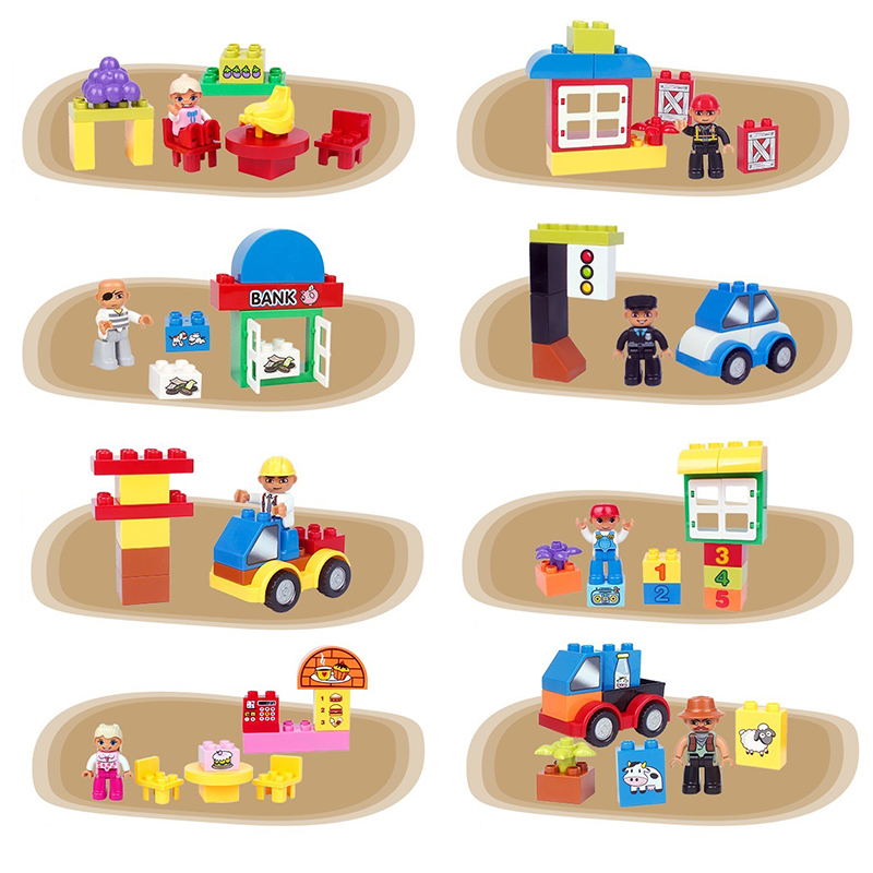 Classic Big Particles Building Blocks Cake City Girl Police Figure accessory Kids Toys Compatible with Duplo sets birthday Gift astroboy tetsuwan atom minifigures minecraft building blocks betty toby hedgehog girl birthday figure kids toys action 0751