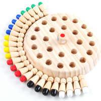 Crianças jogo de festa de madeira jogo de memória vara xadrez divertido bloco de jogo de tabuleiro cor educacional capacidade cognitiva brinquedo para crianças