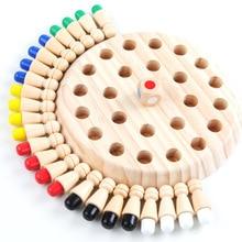 Juego de ajedrez con memoria de madera para niños, juego de mesa de bloques divertidos, juguete educativo de habilidad cognitiva de Color