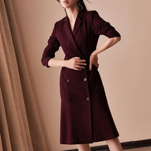 Dress Suits Women 2019 Autumn Winter Luxury Long Sleeve Blazer Jacket Suit Elegant Double Breasted Dress Office Lady Plus Size plus size double breasted patchwork dress