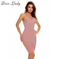 Deer Lady Party Dresses Pink Bandage Dress Sleeveless Deep V Neck Lace Up Dress Women Bodycon