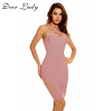 Deer Lady Summer Collection Bandage Dress Sleeveless V Neck Lace Up Dress Pink Bodycon Dress HL Hollow Out Mini Dress Party