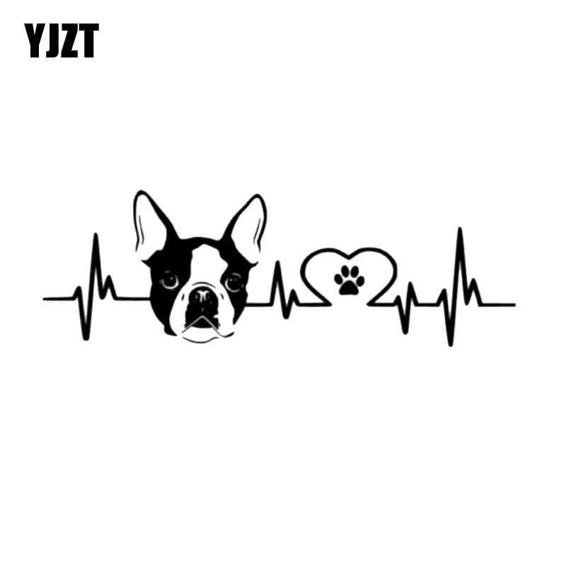 YJZT 20CM*6.7CM Boston Terrier Ecg Vinyl Decoration Car Decal Sticker Black/Silver C2-3265 fashion style