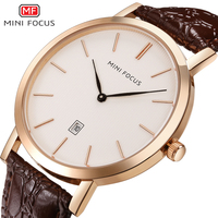 MINI FOCUS Quartz Watch Men Watches Top Brand Luxury Male Ultra Thin Clock Rose Gold Leather