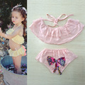Lovely Pink Cotton Children Swimsuit Girls Summer Sling Halter Swimsuit Body Suit