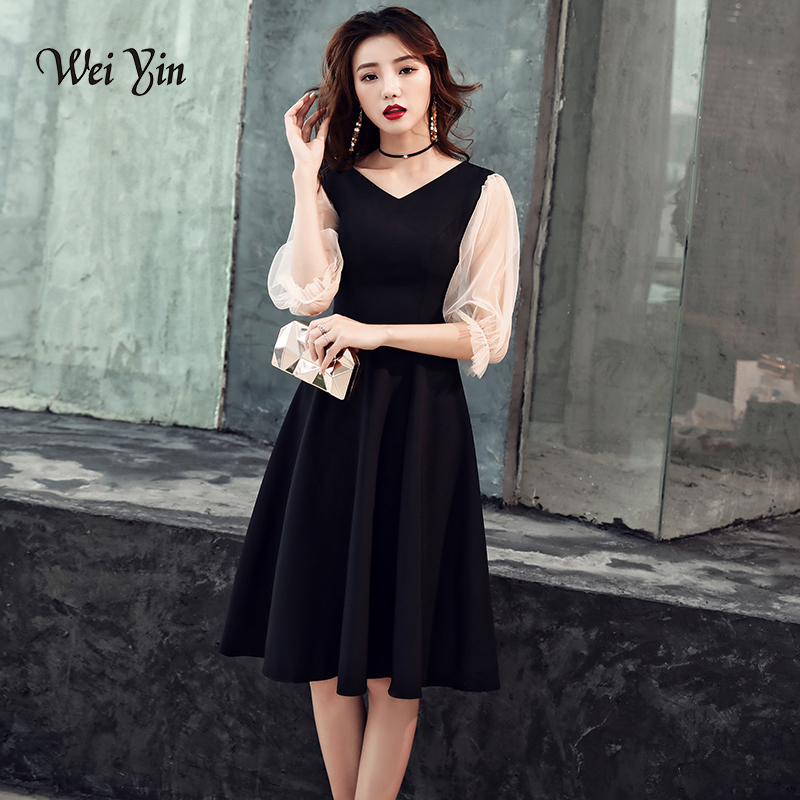 weiyin Black Short Cocktail Dresses 2019 Knee Length Ladies Half Sleeves V-Neck Formal Gowns Short Cocktail Party Dress WWY1326