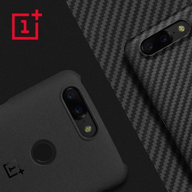OnePlus 5T เดิม 100% อย่างเป็นทางการกันชนวัสดุ Aramid Fiber PC ครึ่งรอบปกหลัง SHELL หินทรายคาร์บอนสำหรับ OnePlus