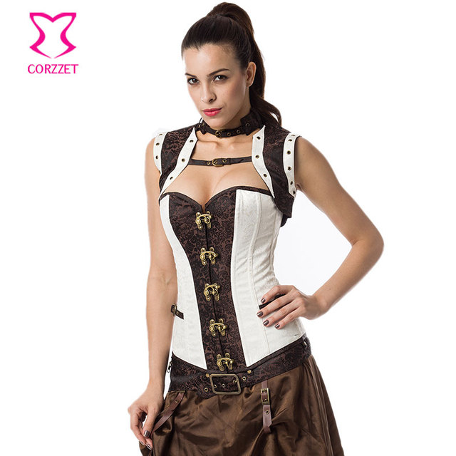 Vintage Fashion White/Brown Brocade Bustier Sexy Gothic Clothing Waist Trainer Corset Plus Size Korsett Steampunk Corsets Women