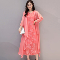 high quality fashion Faux Silk Dress plus size vintage women loose summer dress vestidos femininos party Chiffon dress 2 pieces
