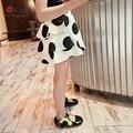Nova moda meninas saias do bebê bailarina saia crianças pettiskirt crianças fofas Hallowmas casual branco e preto dot impresso saia