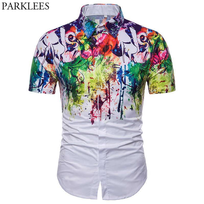 Летняя гавайская рубашка с короткими рукавами для мужчин 2018, брендовая 3D рубашка с принтом брызг чернилами, Мужская хипстерская белая рубашка с цветочным принтом, Chemise Homme