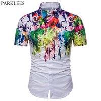 Zomer Korte Mouw Hawaiian Jurk Shirt Mannen 2018 Merk 3D Splash Inkt Print Shirt Mens Hipster Wit Bloemen Shirts Chemise Homme