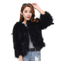 2018 Winter Fashion Casual O Neck Genuine Ostrich Coats Full Sleeves Solid Slim OStrich Feather Coats Real Fur Coats Outwear