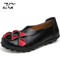 ZOQI Summer Flat Shoes Woman Genuine Leather 2018 Cut Out Fretwork Round Toes Flower Hook Loop