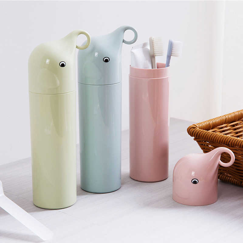 Portable Cartoon Elephant Toothbrush Cup Travel Brushing Cups Plastic Toothbrush Box Washing Cups