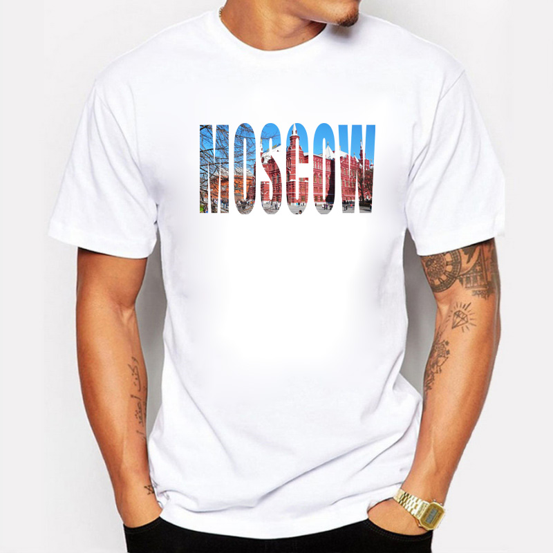 The Capital of Russia Purpose Tour City Moscow Prints off white T Shirt Men Cotton Summer