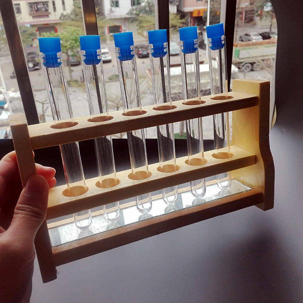 laboratory Wooden Test Tube Rack, 6 Holes with 6piece test tubes . diameter  18mm for 10ml Test Tubes laboratory draining rack 650x360mm 55position