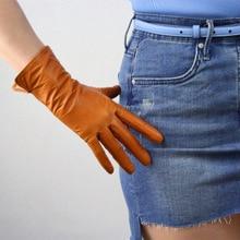 Fashion Genuine Leather Gloves Ladies Sheepskin European Version Of Slender Fingers  Warm Lining Winter TB31