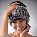 Women Fashion Real Knitted Rex Rabbit Fur Shawls Lady Ring Winter Neck Warmers  Scarfs 2 Function