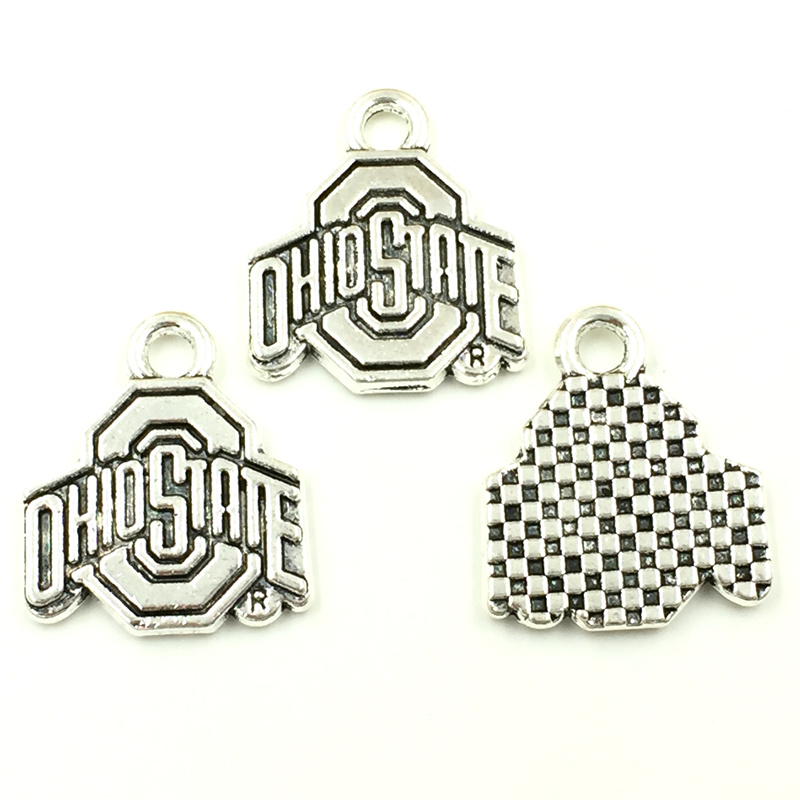 30Pcs Retro Silver Tone Ohiostate Sign Charms Pendants Jewelry Making 20x17mm