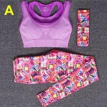 New Women's Yoga Three-piece Set(Hair band+Vests+Pants) Printed Skinny Training Clothing Sport Leggings Fitness Sportswear 2016
