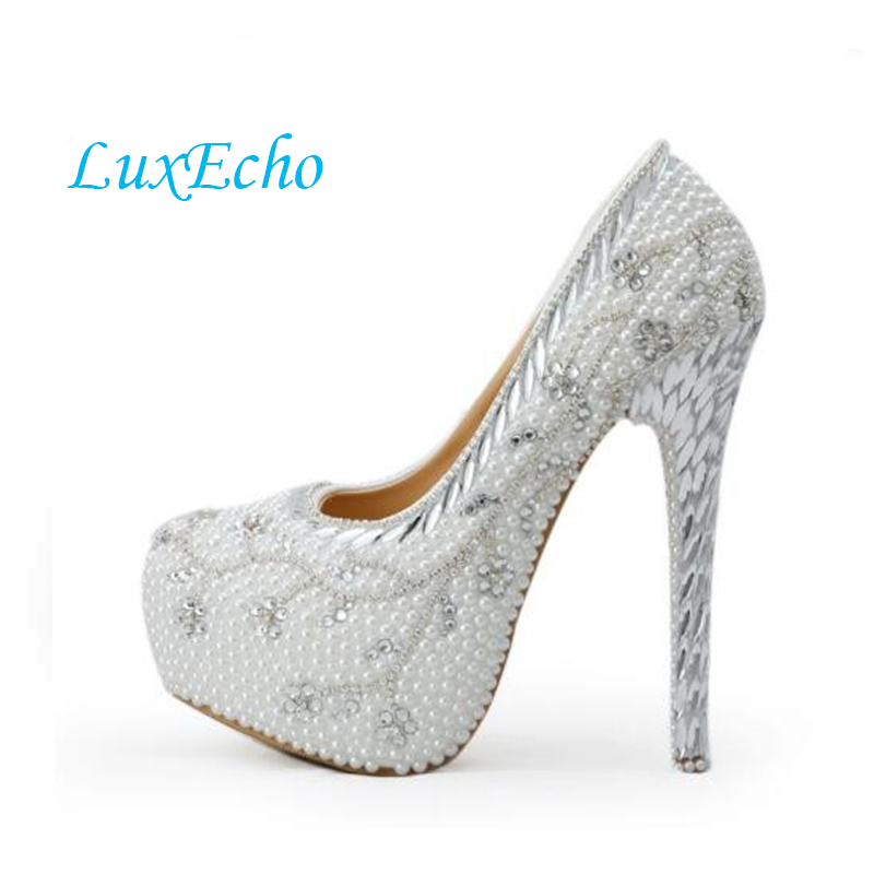 Фото 2016 white rhinestone wedding shoes  pearl high-heeled bridal shoes 8cm/11cm/14cm heel pumps platform party shoes