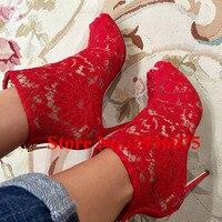 אדום נעלי אופנה קיץ קרסול מגפי מגזרות רשת תחרה חזור Zip עקבים סקסי פגיון בוהן ציוץ סנדלי גלדיאטור נעלי אישה