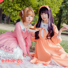 цена на Anime Cardcaptor Sakura Cosplay Kinomoto Cosplay Costume Pink Orange Dress
