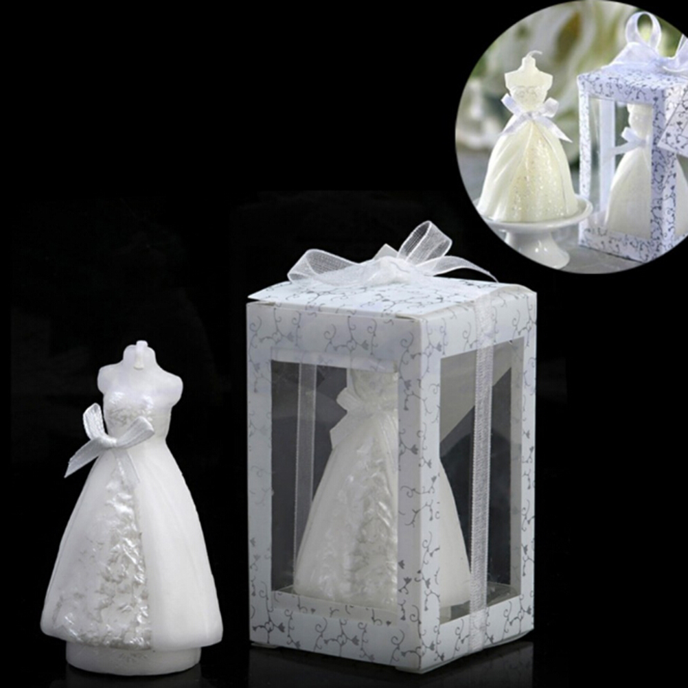 Fashion White Elegant Wedding Bridal Bride Candles Gown Dress Design Art Candle Party Supplies Home Decors In From Garden On