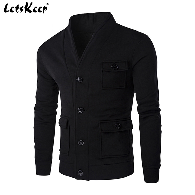 2017 New Letskeep spring Black hoodies cardigan men casual slim fit sweatshirt hoodie harajuku mens tracksuit cardigan ,MA228