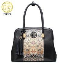 Pmsix 2017 nueva llegada de la manera mujeres de los bolsos de cuero retro de la vendimia de impresión grande de las señoras bolsas de asas de cuero p120079