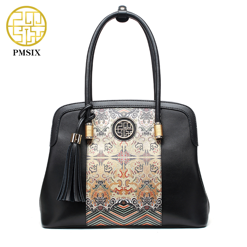 Prix pour PMSIX 2017 Nouvelle Arrivée De Mode Femmes En Cuir Sacs À Main Rétro Vintage Impression Grandes Dames En Cuir Fourre-Tout Sacs P120079