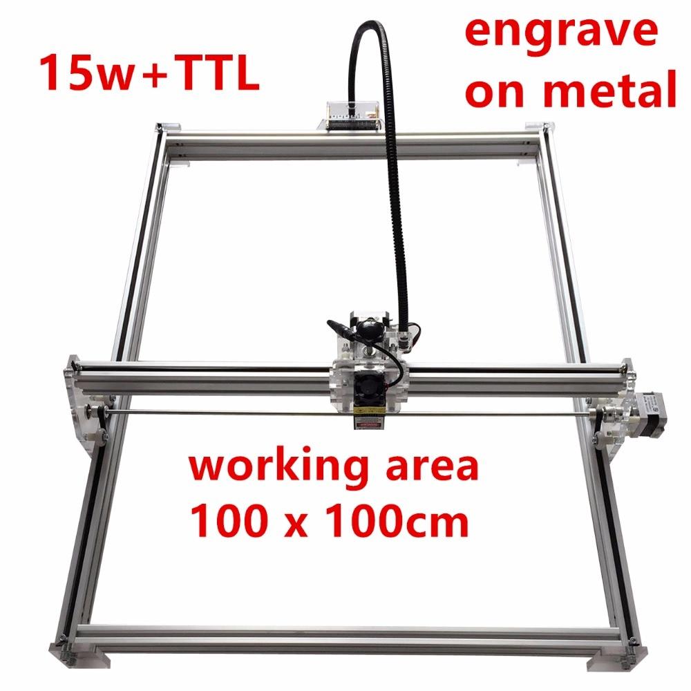 15 w laser cutter machine à marquer les métaux soutiennent le logiciel anglais travail taille 1*1 m laser graveur marque sur métal grand travail taille puissance