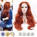 Мода длинные волнистые медный цвет синтетический парик фронта шнурка высокая термостойкость синтетических волос, парики