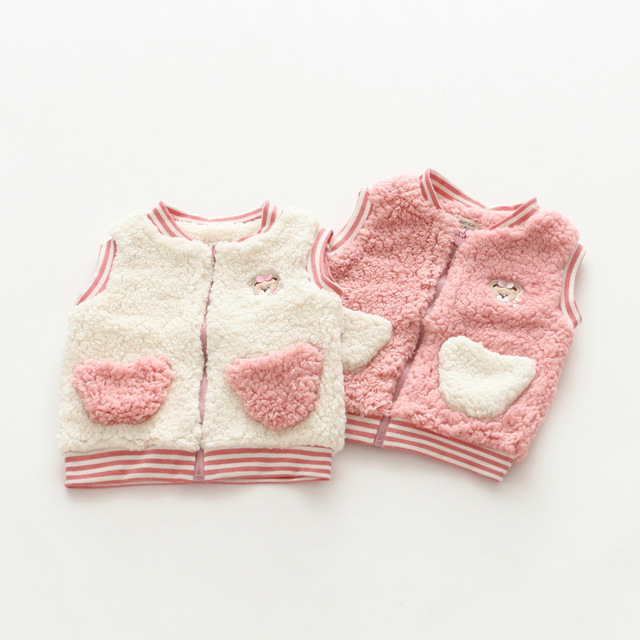 ff8ddc7fac56 Everweekend Girls Candy Color Fleece Vests Waistcoats Pink and White ...
