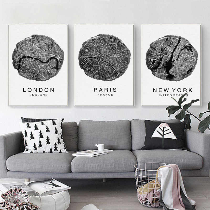 Black and White New York City Map Print Painting Minimalist Wall Art Modern Canvas Poster Picture Living Room Home Decor