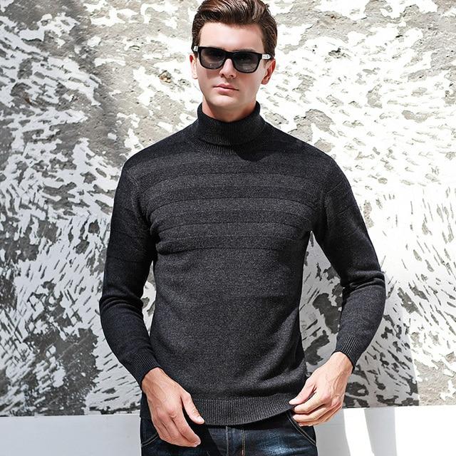 74e4f0f7845 MACROSEA 100% Wool Men s Turtleneck Sweater Men Smart Casual Solid Color  Pullover High Quality Men s