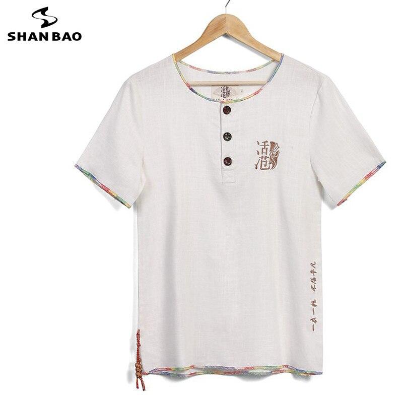SHANBAO chinois bouton brodé décontracté coton lâche à manches courtes T-Shirt 2019 été mince mode T-Shirt grande taille